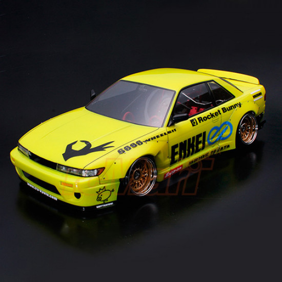 1/10 Nissan Silvia S13 195mm Clear Body w/ Rocket Bunny V2 Body Parts Set For RC Touring Drift