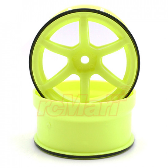 Racing Performer Offset 6mm High Traction Rim 2 pcs Yellow For 1/10 RWD Drift Car