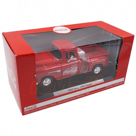 1/24 Coca-Cola Diecast 1955 Chevy Stepside Pickup Scale Model Car w/ Cooler