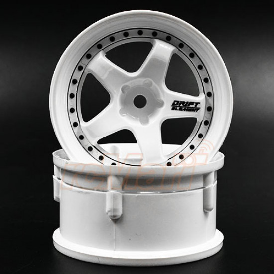 Drift Element Rim Triple White 2 pcs w/ Black Rivets For 1/10 RC Drift