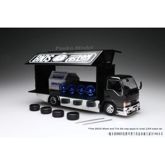 1/64 Y.E.S. Semi Wide Wing Isuzu Custom Truck Black with BNDS Wheels Diecast Scale Model Car
